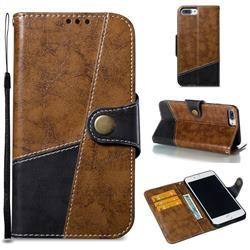 Retro Magnetic Stitching Wallet Flip Cover for iPhone 8 Plus / 7 Plus 7P(5.5 inch) - Brown