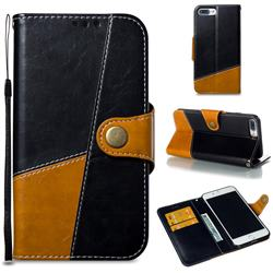 Retro Magnetic Stitching Wallet Flip Cover for iPhone 8 Plus / 7 Plus 7P(5.5 inch) - Black