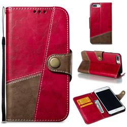 Retro Magnetic Stitching Wallet Flip Cover for iPhone 8 Plus / 7 Plus 7P(5.5 inch) - Rose Red