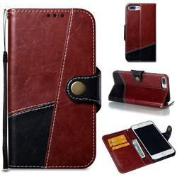 Retro Magnetic Stitching Wallet Flip Cover for iPhone 8 Plus / 7 Plus 7P(5.5 inch) - Dark Red