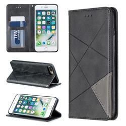 Prismatic Slim Magnetic Sucking Stitching Wallet Flip Cover for iPhone 8 Plus / 7 Plus 7P(5.5 inch) - Black