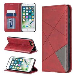 Prismatic Slim Magnetic Sucking Stitching Wallet Flip Cover for iPhone 8 Plus / 7 Plus 7P(5.5 inch) - Red
