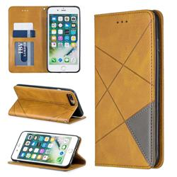 Prismatic Slim Magnetic Sucking Stitching Wallet Flip Cover for iPhone 8 Plus / 7 Plus 7P(5.5 inch) - Yellow