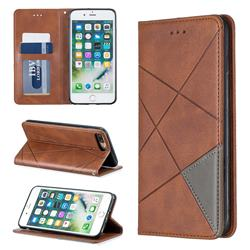 Prismatic Slim Magnetic Sucking Stitching Wallet Flip Cover for iPhone 8 Plus / 7 Plus 7P(5.5 inch) - Brown