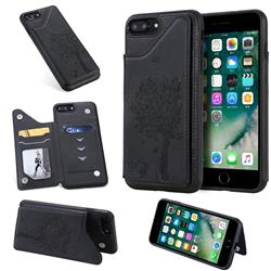 Luxury Tree and Cat Multifunction Magnetic Card Slots Stand Leather Phone Back Cover for iPhone 8 Plus / 7 Plus 7P(5.5 inch) - Black