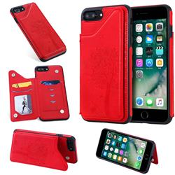Luxury Tree and Cat Multifunction Magnetic Card Slots Stand Leather Phone Back Cover for iPhone 8 Plus / 7 Plus 7P(5.5 inch) - Red