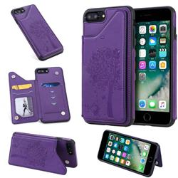 Luxury Tree and Cat Multifunction Magnetic Card Slots Stand Leather Phone Back Cover for iPhone 8 Plus / 7 Plus 7P(5.5 inch) - Purple