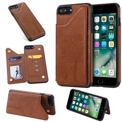 Luxury Tree and Cat Multifunction Magnetic Card Slots Stand Leather Phone Back Cover for iPhone 8 Plus / 7 Plus 7P(5.5 inch) - Brown