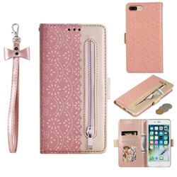 Luxury Lace Zipper Stitching Leather Phone Wallet Case for iPhone 8 Plus / 7 Plus 7P(5.5 inch) - Pink
