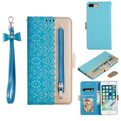 Luxury Lace Zipper Stitching Leather Phone Wallet Case for iPhone 8 Plus / 7 Plus 7P(5.5 inch) - Blue