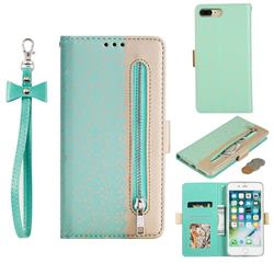 Luxury Lace Zipper Stitching Leather Phone Wallet Case for iPhone 8 Plus / 7 Plus 7P(5.5 inch) - Green