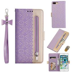 Luxury Lace Zipper Stitching Leather Phone Wallet Case for iPhone 8 Plus / 7 Plus 7P(5.5 inch) - Purple