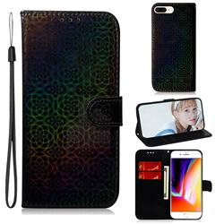 Laser Circle Shining Leather Wallet Phone Case for iPhone 8 Plus / 7 Plus 7P(5.5 inch) - Black