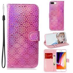 Laser Circle Shining Leather Wallet Phone Case for iPhone 8 Plus / 7 Plus 7P(5.5 inch) - Pink