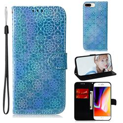 Laser Circle Shining Leather Wallet Phone Case for iPhone 8 Plus / 7 Plus 7P(5.5 inch) - Blue