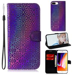 Laser Circle Shining Leather Wallet Phone Case for iPhone 8 Plus / 7 Plus 7P(5.5 inch) - Purple