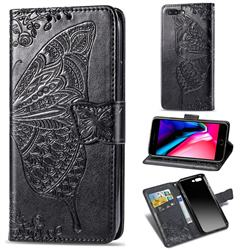 Embossing Mandala Flower Butterfly Leather Wallet Case for iPhone 8 Plus / 7 Plus 7P(5.5 inch) - Black