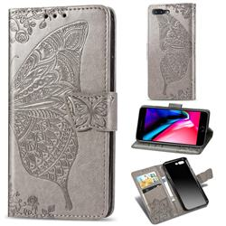 Embossing Mandala Flower Butterfly Leather Wallet Case for iPhone 8 Plus / 7 Plus 7P(5.5 inch) - Gray
