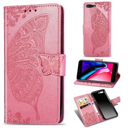 Embossing Mandala Flower Butterfly Leather Wallet Case for iPhone 8 Plus / 7 Plus 7P(5.5 inch) - Pink