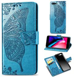 Embossing Mandala Flower Butterfly Leather Wallet Case for iPhone 8 Plus / 7 Plus 7P(5.5 inch) - Blue