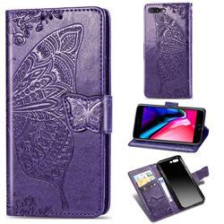 Embossing Mandala Flower Butterfly Leather Wallet Case for iPhone 8 Plus / 7 Plus 7P(5.5 inch) - Dark Purple