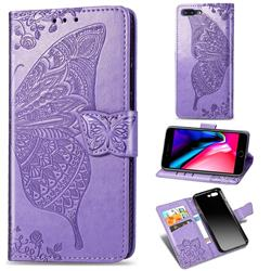 Embossing Mandala Flower Butterfly Leather Wallet Case for iPhone 8 Plus / 7 Plus 7P(5.5 inch) - Light Purple
