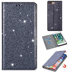 Ultra Slim Glitter Powder Magnetic Automatic Suction Leather Wallet Case for iPhone 8 Plus / 7 Plus 7P(5.5 inch) - Gray