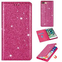 Ultra Slim Glitter Powder Magnetic Automatic Suction Leather Wallet Case for iPhone 8 Plus / 7 Plus 7P(5.5 inch) - Rose Red