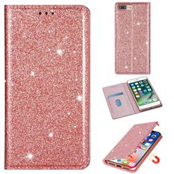 Ultra Slim Glitter Powder Magnetic Automatic Suction Leather Wallet Case for iPhone 8 Plus / 7 Plus 7P(5.5 inch) - Rose Gold