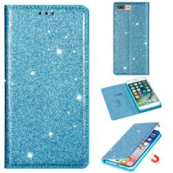 Ultra Slim Glitter Powder Magnetic Automatic Suction Leather Wallet Case for iPhone 8 Plus / 7 Plus 7P(5.5 inch) - Blue