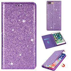 Ultra Slim Glitter Powder Magnetic Automatic Suction Leather Wallet Case for iPhone 8 Plus / 7 Plus 7P(5.5 inch) - Purple