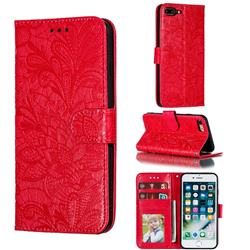 Intricate Embossing Lace Jasmine Flower Leather Wallet Case for iPhone 8 Plus / 7 Plus 7P(5.5 inch) - Red