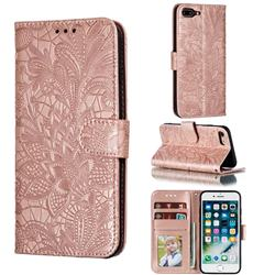 Intricate Embossing Lace Jasmine Flower Leather Wallet Case for iPhone 8 Plus / 7 Plus 7P(5.5 inch) - Rose Gold