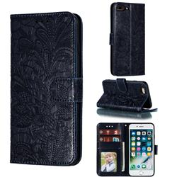 Intricate Embossing Lace Jasmine Flower Leather Wallet Case for iPhone 8 Plus / 7 Plus 7P(5.5 inch) - Dark Blue