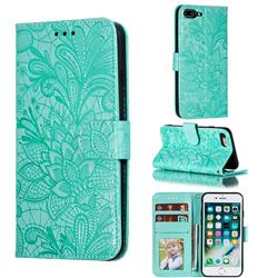 Intricate Embossing Lace Jasmine Flower Leather Wallet Case for iPhone 8 Plus / 7 Plus 7P(5.5 inch) - Green