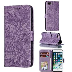Intricate Embossing Lace Jasmine Flower Leather Wallet Case for iPhone 8 Plus / 7 Plus 7P(5.5 inch) - Purple