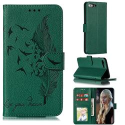 Intricate Embossing Lychee Feather Bird Leather Wallet Case for iPhone 8 Plus / 7 Plus 7P(5.5 inch) - Green