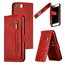 Multifunction 9 Cards Leather Zipper Wallet Phone Case for iPhone 8 Plus / 7 Plus 7P(5.5 inch) - Red