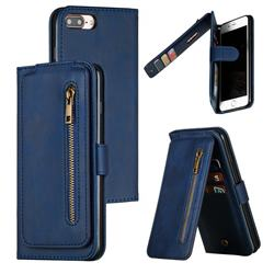 Multifunction 9 Cards Leather Zipper Wallet Phone Case for iPhone 8 Plus / 7 Plus 7P(5.5 inch) - Blue