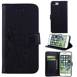 Embossing Rose Flower Leather Wallet Case for iPhone 8 Plus / 7 Plus 7P(5.5 inch) - Black