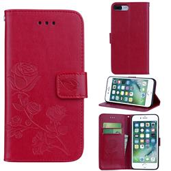 Embossing Rose Flower Leather Wallet Case for iPhone 8 Plus / 7 Plus 7P(5.5 inch) - Red