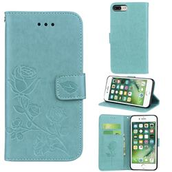 Embossing Rose Flower Leather Wallet Case for iPhone 8 Plus / 7 Plus 7P(5.5 inch) - Green