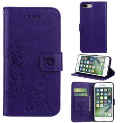 Embossing Rose Flower Leather Wallet Case for iPhone 8 Plus / 7 Plus 7P(5.5 inch) - Purple