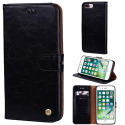 Luxury Retro Oil Wax PU Leather Wallet Phone Case for iPhone 8 Plus / 7 Plus 7P(5.5 inch) - Deep Black