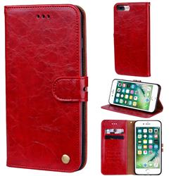 Luxury Retro Oil Wax PU Leather Wallet Phone Case for iPhone 8 Plus / 7 Plus 7P(5.5 inch) - Brown Red