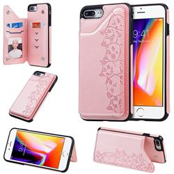 Yikatu Luxury Cute Cats Multifunction Magnetic Card Slots Stand Leather Back Cover for iPhone 8 Plus / 7 Plus 7P(5.5 inch) - Rose Gold