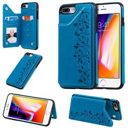 Yikatu Luxury Cute Cats Multifunction Magnetic Card Slots Stand Leather Back Cover for iPhone 8 Plus / 7 Plus 7P(5.5 inch) - Blue