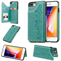 Yikatu Luxury Cute Cats Multifunction Magnetic Card Slots Stand Leather Back Cover for iPhone 8 Plus / 7 Plus 7P(5.5 inch) - Green