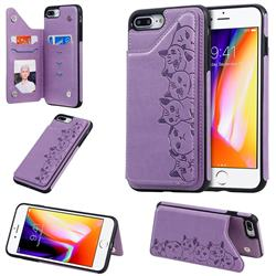 Yikatu Luxury Cute Cats Multifunction Magnetic Card Slots Stand Leather Back Cover for iPhone 8 Plus / 7 Plus 7P(5.5 inch) - Purple