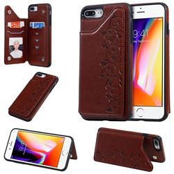 Yikatu Luxury Cute Cats Multifunction Magnetic Card Slots Stand Leather Back Cover for iPhone 8 Plus / 7 Plus 7P(5.5 inch) - Brown